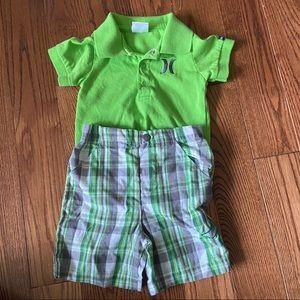 🛍3/$25 Hurley onesie & shorts in size 9-12 months